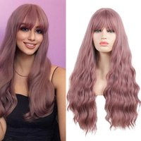 Synthetic Wigs CLong Wig And Bangs Blue Pink Lolita Female High Temperature Resistant Silk Heat Cosplay
