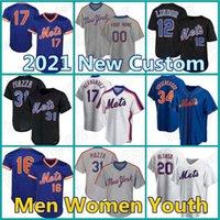 Mets Jersey Custom 12 Francisco 20 Pete Alonso Lindor 48 Jacob Degom Baseball York Darryl 딸기 마이크 Piazza Conforto Stroman N EW