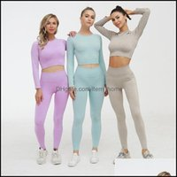 Yoga Exercise Wear Athletic Outdoor Apparel & Outdoorsyoga Outfits Women Vital Seamless Set Fitness Sports Suits Gym Clothing Long Sleeve Cr