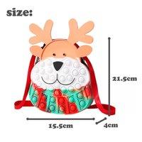 Fidget Toys Christmas Elk Messenger Bag Silicone Push Bubble Sensory Reliever Stress for Keychain Adult Children Autism Antistress Toy