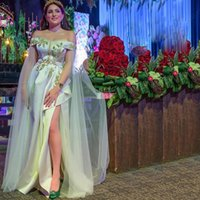Arabic Abaya Caftanes Evening Dresses with Cape Sleeve Side Split Draped Prom Gown Off the Shoulder A Line Dubai Abendkleider
