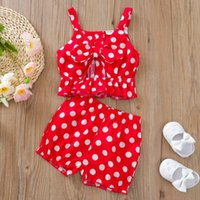 Clothing Sets 2T-6T Summer Toddler Kids Baby Girls Clothes Polka Dot Bowknot Fashion Vest Tops Shorts Outfits Set Baby's
