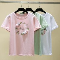 Summer 3D Flower Printing T-shirt Women Printed Cotton Funny Tops Tee Shirt Short Sleeves Casual Knitted Tees Femme 2021 Women's