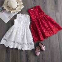 Girls Lace Dress Floral Flower Red Clothes Casual Clothing P...