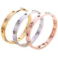Fysara moda hueco estrella brazaletes pulseras para mujeres joyería de moda acero inoxidable rosa oro manguito de plata europeo