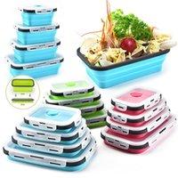 Silikon Öğle Yemeği Kutusu Set İstiflenebilir Bento Gıda Hazırlık Konteyner Katlanabilir Lunchbox Mikrodalga Akşam Yemeği Saklama Kapları Sızdırmaz Taze A0507