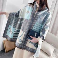 2021 Luxus Kaschmirschal Damen Winter Warme Tücher und Wraps Design Horse Print Bufanda Dicke Decke Schals Hohe Qualität Neue Scarve