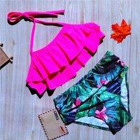 Women's Swimwear 8-16 Years Girl Swimsuit Leaf Print Teenage Bikini Halter Top Children's High Waist Kids Bathing Suit Biquini 2022