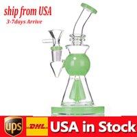 En ucuz cam beher Bong Boru Dab Rig Mantar Perc Percolator 10.5 inç Tall Kalın Baz Su Boruları Bongs Sigara İçme Kase Ile ABD