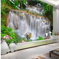 Custom 3d Wallpapers Waterfall River Forest TV Background Wall Beautiful Scenery