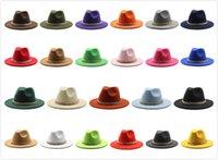 Мужская шляпа Федора для джентльмена шерстяной церкви Cap Cap Band широкий плоский Brim Jazz Hats стильные трилби Панама