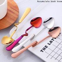 Spoons Bright Gold Hanging Cup Coffee Spoon Heart Shape Stainless Steel Scoop Dessert Stirring Teaspoon Snack Juice Tools
