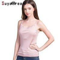Suyadream Kadınlar Ipek Camis 100% Gerçek İpek Örme Dantel Kompozisyonlar Yaz Dip T Gömlek Bej Beyaz Tanklar 210325
