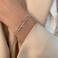 Charm Bracelets Minilist Hollow Heart Bracelet Silver Plated Copper Double Layer Women Girls Elegant Birthday Wedding Party Gift