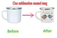 12oz Sublimation Smalto con smalto Blank Blanks Vino Tumbler Tazza di caffè con manico Stampa fai da te FY4394