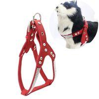 Perrito de cuero de gamuza suave Arnés para perros Chaleco de mascotas Perros Chihuahua Mascotas Arneses Medio para Pink Pequeño Cachorro 650 V2