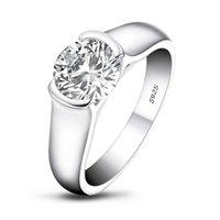 LESF 925 خواتم الفضة النساء الاشتباك مجوهرات 2 ط م جولة قطع سونا الماس الزفاف الحافة مجموعة خواتم هدية