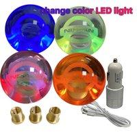 Breathable LED Light Ball Shape Acrylic Gear Shift Knob Floating Emblem Nissan
