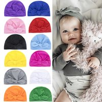 A922 Europe Fashion Infant Baby Hat Bunny Ears Turban Knot Headwrap Hats Kids Cap Beanies 12 Colors