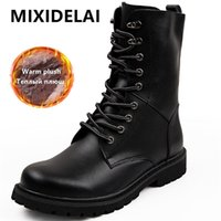 Large size Motorcycle Boots Men Winter Shoes Warm Waterproof Leather Footwear Cowboy Tactical Casual 211023