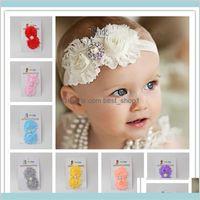 Moda Acessórios de Cabelo Crianças Shabby Flores Bebê Headbands Chiffon Tecido Flor Pérolas Rhinestones Botão Crianças K TD5PR