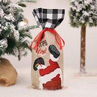 Weihnachten Champagner Weinflasche Abdeckung Santa Claus Geschenk Taschen Weihnachten Neujahr Dekoration Abendtisch Ornamente DWF10591