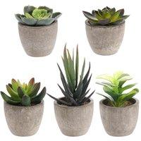 1 Set Induetene in vaso piante ceramiche bonsai con vasi cemento fiore artificiale piante finte per il giardino di nozze decorativo per la casa