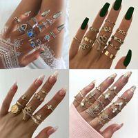 Juego de anillo de la luna de la estrella de la estrella de la corona bohemia Adecuado para las mujeres Moda Crystal Lotus Geometry Lady Anillo Joyería Halloween