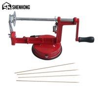 Manual de Shenhon Máquina Vermelha Vegetal Spiraliz Aço Inoxidável Torcido Batata Maçã Slicer Espiral Francês Fry Cutter Ferramentas 210326