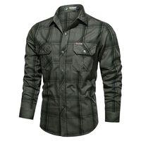Men's Button Down Plaid Casual Shirts Regular Fit Long Sleeve Shirt Men Jacket Coat Mens Tops Plus Size M-4XL