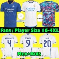 S-4XL 레알 마드리드 유니폼 21 22 플레이어 + 팬 축구 축구 셔츠 2021 2022 Alaba Hazard Sergio Ramos Benzema Asensio Modric Marcelo Camiseta Men + Kids Kit