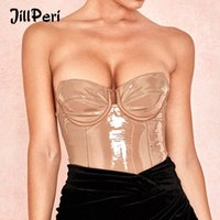 Jillperi Mujeres Sexy Strapless PU Body Patent Solid Patent Vinyl Body Daily Outfit Skinny Rampers Club Wear Sumpsuit Z9mq #
