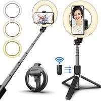 Drahtloser Bluetooth-Selfie-Stick Faltbares Handheld-Remote-Shutter-Stativ mit 5-Zoll-LED-Ring-Fotografie-Licht für Android iOS
