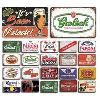2021 Śmieszne Klasyczne Piwo Plakat Żelazo Malarstwo Retro Peroni Bacardi Metalowe Znaki Blaszane Mojito Martini Cuba Libre Koktajl Plakiet Pub Mężczyzna Cave Bar Art Naklejki Wall Decor