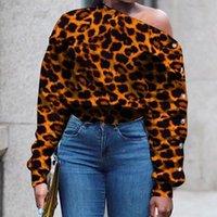 Women's Hoodies & Sweatshirts One Shoulder Designer Leopard Hoodie Sweatshirt Women White Plus Size Sexy Print Crop Streetwear Long Sleeve F