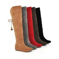 Sexy Womens Faux Suede Over The Knee Flat Warm Boots Comfortable Thigh Lace-up Woman Winter Shoes High Quality