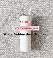 التسامي Tumblers 20oz فارغة كأس بيضاء مع غطاء من البلاستيك القش 304 الفولاذ المقاوم للصدأ شرب كوب فراغ معزول المياه القهوة القدح FY4677