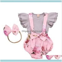 Baby, Kids & Maternityborn Infant Baby Girls Solid Ribbed Tops+Floral Ruffled Bow Suspender Shorts Clothes Babys Sets Clothing Drop Delivery