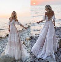 2021 Bohemian Beach Lace A Line Wedding Dresses Spaghetti Straps Tulle Applique Sweep Train Boho Wedding Dress Bridal Gowns robe de mariée