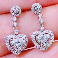 Orecchini a goccia in oro bianco 18 carati Orecchini Donne Donne presente Anniversario di Matrimonio Partito di fidanzamento 0.5 1 2 3 Carat Heart Moissanite Diamond
