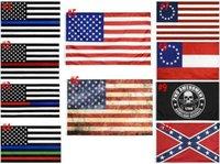 Amerikanische Flagge 90cmx150cm Gesetz Durchsetzungsoffizier Zweiter Änderungsantrag Bill US Police Fine Blue Line American Betsy Ross Flag DHA4502