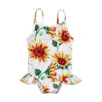 Ternos de uma peça para meninas girassol biquíni 2021 verão criança crianças bebê menina um pedaço de banho rápido seco praia swimwear roupa de banho para