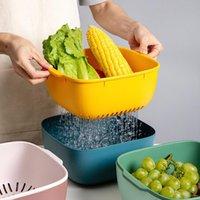 Storage Baskets Kitchen Drain Box Basket Bowl Rice Washing Vegetable Fruit Sieve Colander Plastic Double Layer Drainer Sink Strainer