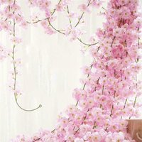 Decorative Flowers & Wreaths Artificial Silk Sakura Cherry For Home Party Rattan Wall Hanging Garland Decor Blossom Vine Lvy Wedding Arch De