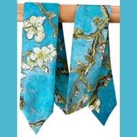 Lenços 100% puro cachecol magro de seda por atacado gravata para mulheres saco de luxo decoração fita em massa feminina longa garota laço de amêndoa blossom