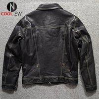 Men's Leather & Faux 2021 Black Genuine Jacket Men Casual Japan Style Plus Size 3XL Real Natural Horsehide Autumn Slim Fit Short Coat
