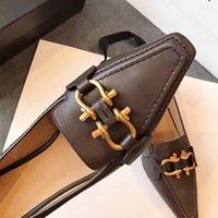 30٪ خصم النساء شقة عارضة الأحذية أصيلة جلد البقر المعادن مشبك السيدات أحذية جلدية البغال الرجال برينستاون الرجال تدوس كسول كبير