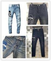Son Listin Lüks Designe Mens Jeans Rhinestone Yama Madalya Fold Moda Erkekler Ince Motosiklet Biker Hip Hop Pantolon En Kaliteli Boyutu 28-40