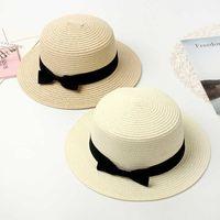 Şapka Pija Mujer, Sombrero de Panam Con Lazo Plano, Gayri resmi, Transpirable, La Moda, Para Playa, Verano