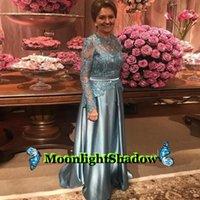Grey Satin Evening Dress Long Appliques Illusion Back Groom Mother Wedding Party Dubai Arabic Saudi Arabian Vestidos De Festa Dresses